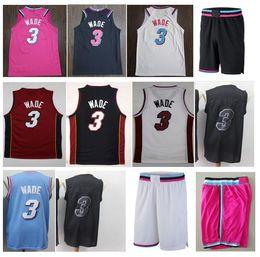 7dfe9a44287 Good-Quality New style Cheap Dwyane 3# Wade Jersey Embroidery Wade Shirts  White Black Pink Mens Sportswear University uniform S-XXL