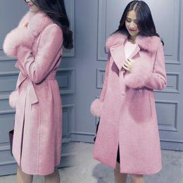 $enCountryForm.capitalKeyWord NZ - Women Casual Turn-Down Collar Long Sleeve Solid Medium Cardigan Fur Collar Woolen Collar, Belt Winter Coat