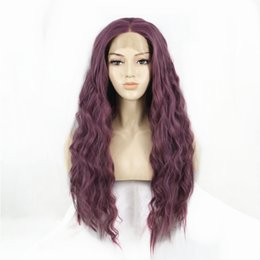 New wave loNg hair online shopping - New Cosplay Purple Synthetic Long Wave Hair Lace Front Wigs Glueless For Women Natural Hairline Density Heat Resistant Fiber Hair