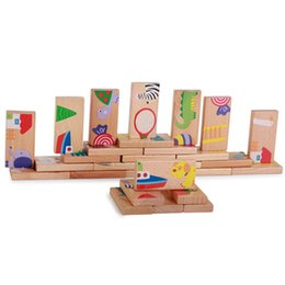 $enCountryForm.capitalKeyWord NZ - PCS Wooden Puzzle Toys Games Cute Gifts For Kids Children Multicolor Animal Dominoes Cartoon Montessori Early Educational Baby