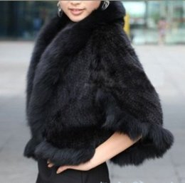 fur coat mink shipping Canada - Free Shipping New Genuine Knitted Mink Fur Shawl Wrap Cape with Fox fur collar women mink fur coat Wholesale retail TF0137