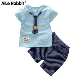 boys fashion sets 2019 - AiLe Rabbit Summer New Boys Baby Set Short-sleeved T-shirt and Pants 2 Sets of Fashion Suit Smiling Face Tie Gentleman S