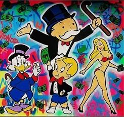 $enCountryForm.capitalKeyWord Australia - High Quality Handpainted &HD Print Alec Monopoly PARTY PLACE Graffiti Pop Art Oil Painting On Canvas Home Deco Wall Art g282