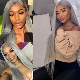 straight lace front wig cheap UK - Cheap Hallween Cosplay Wigs Grey Long Straight Synthetic Lace Front Wig Heat Resistant Natural Hair Party Wigs For Black Women 180 Density