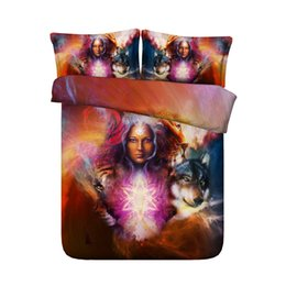3d Bedding Sets Purple Australia - Witchcraft 3 Piece Bedding With 2 Pillow Shams Tiger Lion 3D Wolf Duvet Cover Set Gift For Kids Boys Teens Bed Spread No Comforter Purple