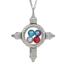 $enCountryForm.capitalKeyWord Australia - Magnetic Open Rhinestone Cross Glass Locket Pearl Cage Pendant Living Memory Floating Charms Necklace With Chain Jewelry Making