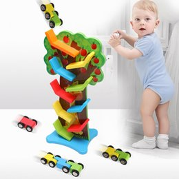 wooden educational fruit NZ - Wood ball 2019 new wooden children's educational toys inertia 9-layer track fruit tree glider toy hot sale welcome order