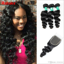 $enCountryForm.capitalKeyWord NZ - Loose Wave Indian Human Hair Bundles with Closure Brazilian Virgin Hair Extensions Can Be Straightened and Curled Nice Texture Loose wave