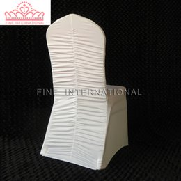 $enCountryForm.capitalKeyWord Australia - White Pleated Spandex Chair Cover Ruffled Spandex Lycra Chair Cover