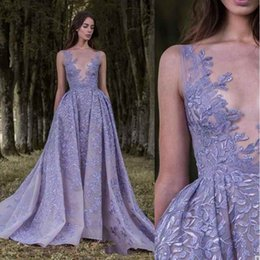 $enCountryForm.capitalKeyWord NZ - Sexy Zuhair Murad Lavender Evening Dresses Lace Applique Sheer Neck Backless Court Train Formal Prom Gowns Button Illusion Back BC0722