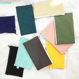 $enCountryForm.capitalKeyWord Australia - Coloful blank canvas zipper Pencil cases pen pouches cotton cosmetic Bags makeup bags Mobile phone clutch bag organizer(hl) 50pcs
