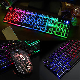 T6 luminous keyboard and mouse set desktop computer game robotic feel Keyboard Mouse Combos dhl free on Sale