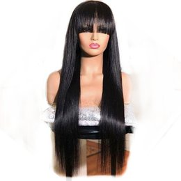 straight full lace wig silk base NZ - Silk Top Full Lace Wigs Bangs Virgin Brazilian Glueless Handtied Straight Silk Base Lace Front Human Hair Wig With Bangs