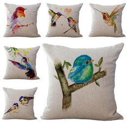 Hospital Bedding Australia - Painting Little Birds Pillow Case Cushion Cover Linen Cotton Throw Pillowcases sofa Bed Car Decorative Pillow covers Drop Ship 240441