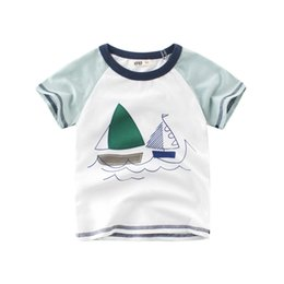 d06f16a54 sailboat baby boys girl tshirts tee 100% cotton soft tops kids children  outwear clothes T shirt short-sleeved Round Neck summer outfit 2-10T