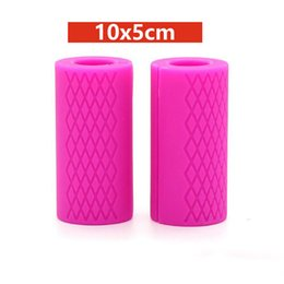 Discount silicone handle grip - 1 Pair 10x5cm Silicone Barbell Handles Dumbbell Grips Pull Up Weightlifting Training Intensify Forearm Anti-slip Protect