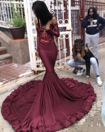 $enCountryForm.capitalKeyWord Australia - Maroon Burgundy Prom Dresses 2019 Mermaid Illusion Sequins Long Sleeve Black Girls Plus Size Pageant Evening Gowns Formal Bridesmaids Dress