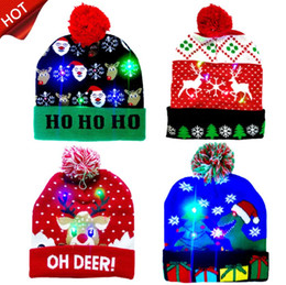 Discount fall sweaters 2020 New Year LED Light Christmas Hats Beanie Sweater knitted Christmas Light Up Knitted Hat for Kid Adult For Christmas Party 15 Style