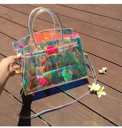 $enCountryForm.capitalKeyWord Australia - Designer-SUNNY BEACH Transparent Hologram Laser Messenger Bag Women Pink Jelly Shoulder Bag Female Harajuku Big Tote Girl Handbags Bolsas