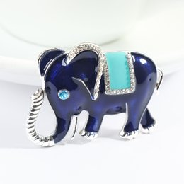 white elephant gifts 2019 - Animal Metal Brooch Pin Women Rhinestone Elephant Fashion Jewelry Gift for Friends Blue White Color discount white eleph