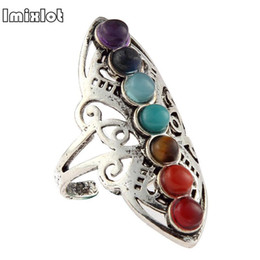 $enCountryForm.capitalKeyWord Australia - Imixlot 2018 Real Anel Anillos Rings Color Chakra Healing Hollow Thumb Reiki Stones Ring For Women Adjustable Jewelry Gifts