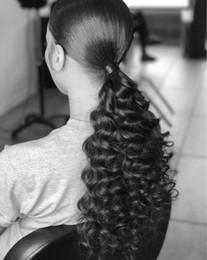$enCountryForm.capitalKeyWord Australia - New arrival kinky curly Ponytail Hair Extension real Human Hair drawstring Pony tail Hairpiece 140g natural black 1b# color