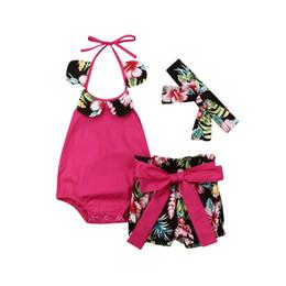 $enCountryForm.capitalKeyWord Australia - Brand Toddler Baby Kids Girls Halter Tops Sleeveless Flower Collar Romper Pants Bow PP Shorts Headband Holiday Baby Clothes