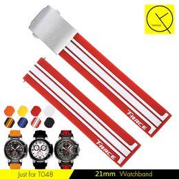 Men Sports Racing Watch Australia - 21mm Silicone Watch Bands For Tissot T048 T-race Rubber Sport Men Watch Strap Black Orange Watchband Waterproof