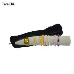 $enCountryForm.capitalKeyWord Australia - Fashion Jewelry Display Storage Zipper Bag Case Velvet Bar Bracelet Holder Bangle Watch Organizer Travel Roll Bag 9 Colors