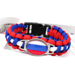 $enCountryForm.capitalKeyWord NZ - Cool Royal Blue Red White Umbrella Rope Women Men Jewelry Gift Glass Convex Ellipse Russia National Flag Survival Paracord Bracelets Bangles