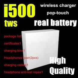 Ingrosso i500 tws AP2 Air 2 fili truciolo auricolari PK W1 H1 Controllo del sensore auricolari Wirless auricolari carica cuffia PK i18 i30 i60 i100 i300