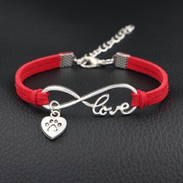 $enCountryForm.capitalKeyWord Australia - 2019 New Classic Style Red Leather Suede Bracelets Simple Infinity Love Dog Paw Prints Heart Accessories Hand-woven Women Men Jewelry Gifts