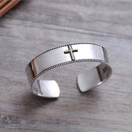 $enCountryForm.capitalKeyWord NZ - Wholesale New Product Fashion 925 Sterling Silver Cross Wide Cuff Bracelet Women Men Open Bangle