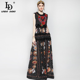 flowers fashion street style Australia - New 2019 Fashion Runway Maxi Dress Women Floor Length Sleeveless Elegant Rose Flower Print Floral Embroidery Vintage Long Dress T3190612