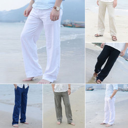 Yoga Pants Men Loose NZ - Linen Loose Pants YOGA Drawstring Yoga MEN Casual Long Slacks Trousers Leggings