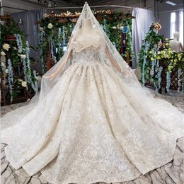 Backless Wedding Dress Veils UK - 2019 Summer New Wedding Dresses Strapless Neck Sleeveless Backless Lace Up Back Long Lace Veil Shell Chest Sequins Lace Bridal Gowns Garden