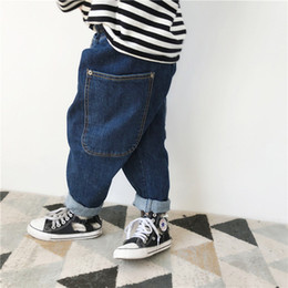 Hip Hop Clothing Babies NZ - Oversize Loose Hip Hop Baby Boys Denim Pants Cotton Big Pocket Toddler Girls Jeans Trousers Children's Clothes