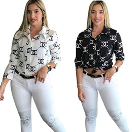 Wholesale black white collared top for sale - Group buy Free Ship Women Fashion Letter Print Turn Down Collar Shirt Casual Long Sleeve Slim Shirt Tops XXL