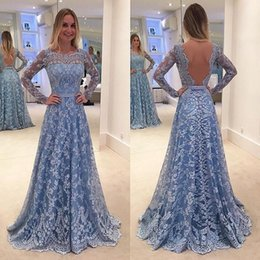 Blue Prom Dresses White Bow Australia - Pageant Blue Evening Dresses Long Sleeve Backless Women's Fashion Bridal Gown Special Occasion Lace Prom Bridesmaid Party Dress