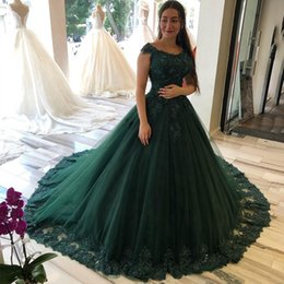 Robe soiRee cRystal online shopping - Dark Hunter Green Long Evening Dress Plus Size Lace Applique Cap Sleeves Tulle Custom Made Prom Party Gowns Robe de soiree