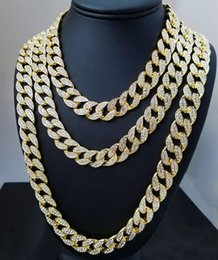Wholesale Free DHL Classic Full Diamond Bling Necklaces Hip Hop Iced Out Chains Necklace Gold Silver Miami Cuban Link Chains Jewelry Men Women M026F