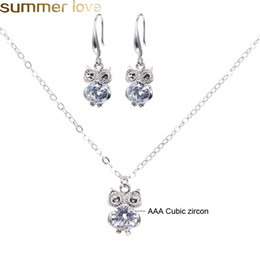 Wholesale 16 Styles Jewelry Sets For Women Cubic Zircon Pendant Necklace Earrings Cute Dancer Girl Owl Star Charm Necklace Earing Set fo Fashion Lady