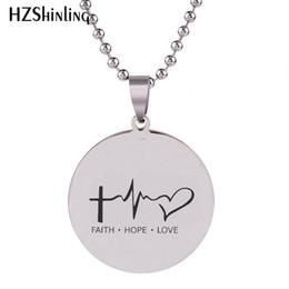 Faith Hope Love Pendants Australia - 2019 New Faith Hope Love Lifeline Pendant Hand Craft Stainless Steel Necklace Art Round Jewelry Ball Chain For Men HZ7