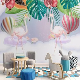 Painting Wallpaper For Kids Australia - Hand Painted Pink flamingos Wallpaper 3D Custom Wall Mural Rain Forest Plant Banana Leaf Pastoral Wall Painting for Kids Bedroom livingroom