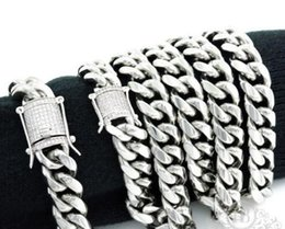 12mm 925 silver bracelet online shopping - Mens mm Miami Bracelet Chain Set Silver Stainless Steel Diamond Clasp