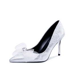 6c3f4d01d5 Bride Low Heel Shoes Australia - Silver and white wedding shoes diamond  lace bow high heels