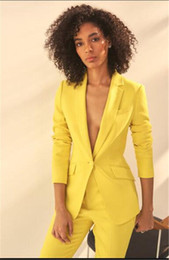 women business trouser suits NZ - Yellow Women Notch Lapel Jacket+Pants Women Business Suits Pantsuit Office Uniform Style Female Trouser Suit Custom Made