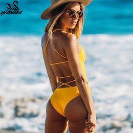 $enCountryForm.capitalKeyWord NZ - One Piece Summer Blue Black Sexy Cross Halter Swimwear Women Solid Bathing Suits Beach Wear Swim Backless Swimsuit Q190525