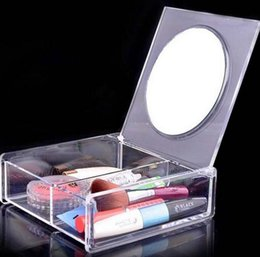 crystal clear plastic storage boxes Australia - Fashion Square 2 space Transparent Crystal Storage Box makeup Organizer Cosmetic Acrylic Clear Jewelry Display Case with Mirror SN2370