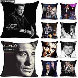 $enCountryForm.capitalKeyWord Australia - New Arrival Johnny Hallyday Pillow Cover Bedroom Home Office Decorative Pillowcase Square Zipper Pillow cases Satin Soft No Fade